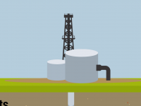 An illustration of an oil well behind tanks