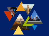 Triangles with Duke colors highlighting wind turbines, solar installation, Duke Chapel, and a woman wearing a VR headset
