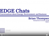 "Slide showing ""EDGE Chats: Conversations about Energy, Environment, and Business. Brian Thompson, Entrepreneur and Investor; Founder, Stem, Inc."