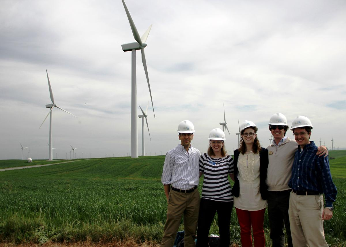 students on a windfarm