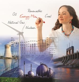 poster,energy mix,thermal power plant,solar farm,water dam,nuclear reactors,lady pinpointing energy resources