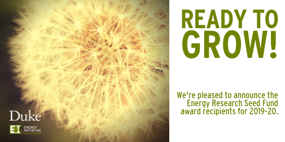 Ready to grow! We're pleased to announce the Energy Research Seed Fund award recipients for 2019-2020