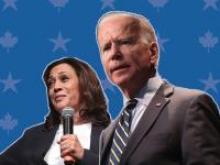Kamala Harris and Joe Biden in front of a blue starred background