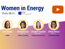 Headshots with identifying information underneath: Sara Bogdan MEM'15, Jetblue. Manisha Shah MPP'95, EmStar Consulting. Elizabeth Turnbull MEM/MBA'11, Portland General Electric. Tiffany Wilson PhD'17, CleanChoice Energy.