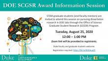 DOE SCGSR program information (available inside event item)